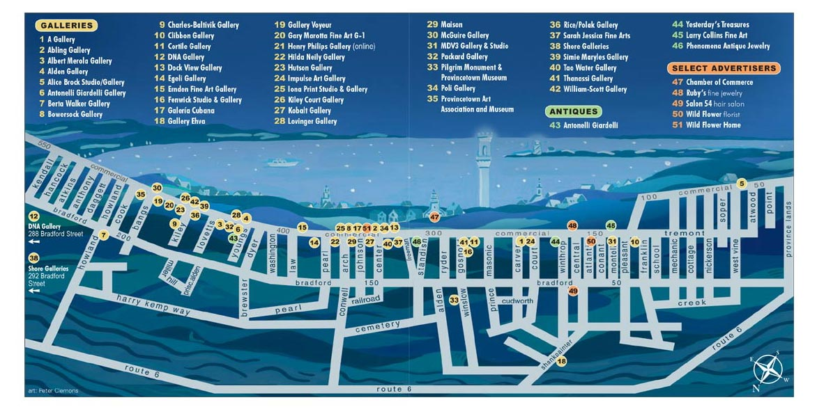 map of Provincetown showing locations of galleries, antiques, and special advertisers of Provincetown Art Guide